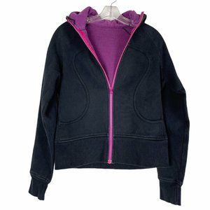 Lululemon Scuba Black and Purple Hoodie Jacket 6 8